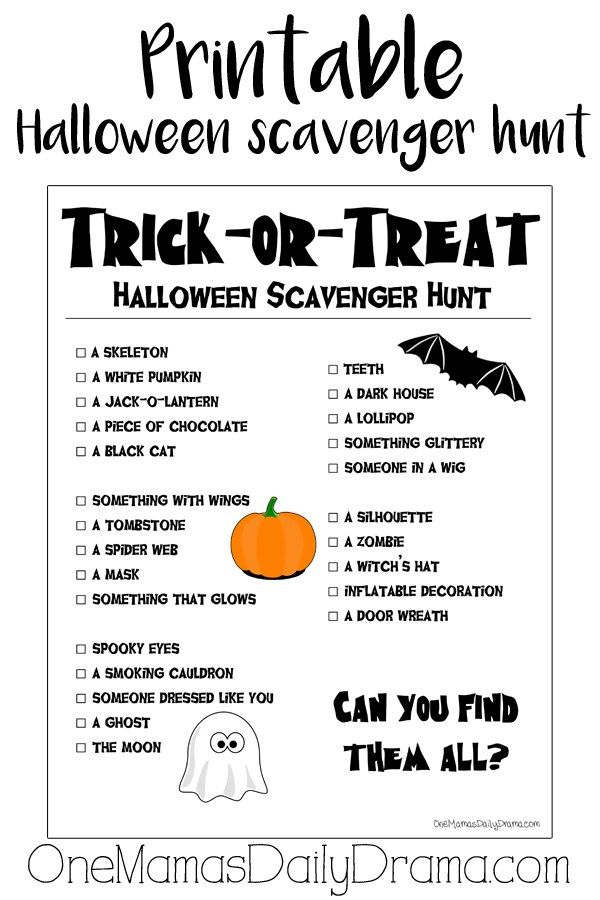 Printable Halloween scavenger hunt | trick-or-treat activity for kids | Fun Halloween party game or busy activity that doesn't focus on candy!
