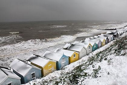 Beach huts and the rough North Sea