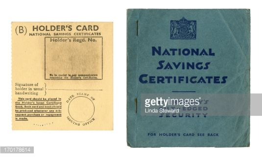 An old British National Savings Certificates book and Holder's Card c1940s.