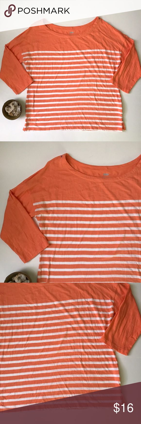 Old Navy Orange + white nautical striped shirt XL Old Navy women's peach/orange and white striped 3/4 sleeve tee in a nautical style. The stripes are ultra-classic and this top can easily be paired with jeans or a skirt. The shirt is women's size extra large.  This shirt is in gently pre-owned condition with light wear. There is a small pull at the neckline but it doesn't affect wear. Please take a look through the photos to see if this item is right for you! Old Navy Tops Tees - Long Sleeve