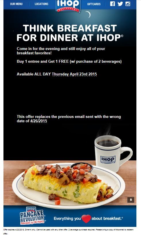 Today only! Buy one, get one free meal at IHOP! #coupon # ...