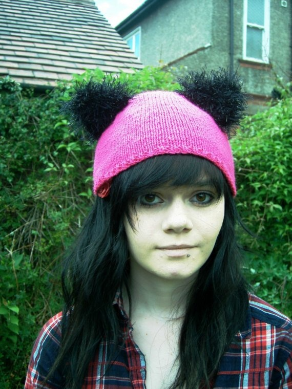 Pink Kitty Cat beanie hat with sparkle ears by thekittensmittensuk, $22.00