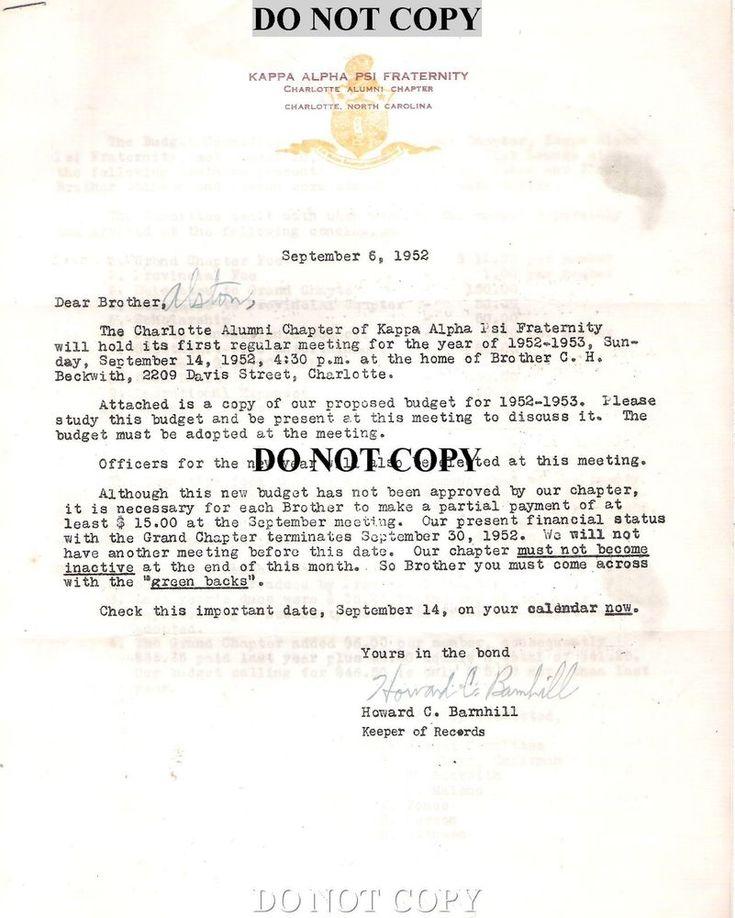 1952 KAPPA ALPHA PSI  FRATERNITY CORRESPONDENCE LETTER - BLACK HISTORY CHAR NC