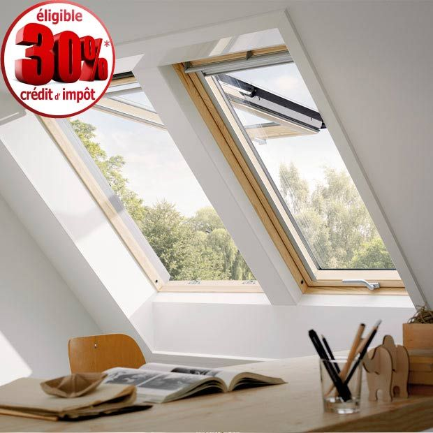 Fenêtre de toit Velux Confort finition bois -  à rotation GGL - Lapeyre