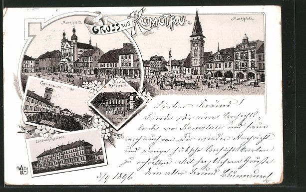 old postcard: Lithographie Komotau / Chomutov, Landwehrkaserne, Gasthaus Bräuhaus, Frohngasse, Gymnasium