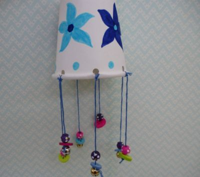 Paper cup wind chimes to tinkle in the spring breeze