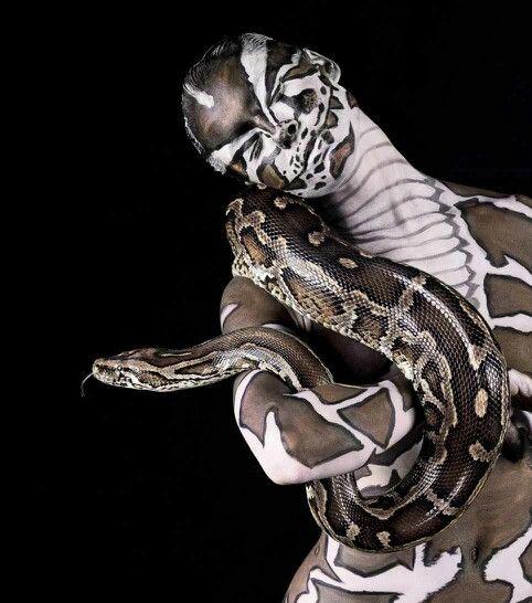 Python on sliver body art - ✯ www.pinterest.com/WhoLoves/Body-Art ✯ #BodyArt