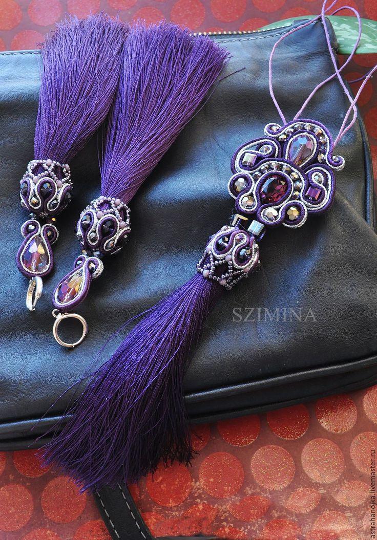 Купить Сутажный фиолетовый комплект Purpur - тёмно-фиолетовый, сутажные украшения, фиолетовый, фиолетовый цвет