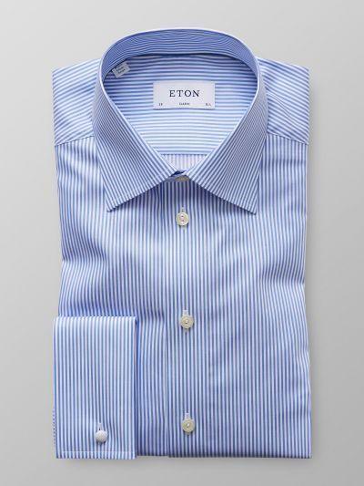 Blue Striped French Cuff Shirt