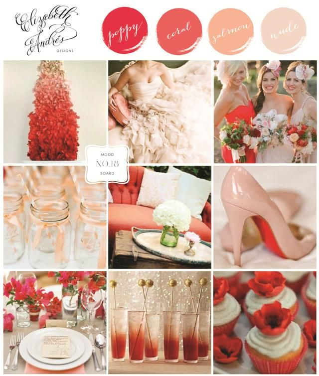 Wedding Inspiration Mood Board #18 {Poppy Red, Coral, Salmon, Peach, Nude, Linen} by Elizabeth Andres Designs in Dubai