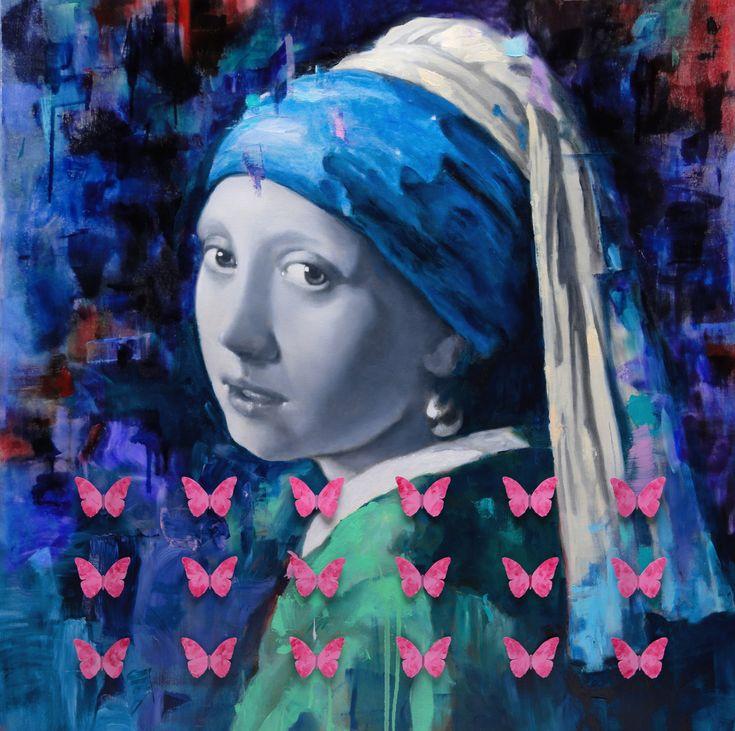 Serge Déry, Jeune fille à la perle et papillons, huile et aluminium