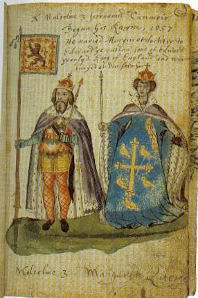 King Malcolm III, King of Alba 1013-1093. He married 1. Ingibiorg Finnsdotter (1. Thorfinn Sigurdsson, Earl of Orkney - 2 sons: Paul and Erlend) - a son: Duncan II. 2. Margaret of Wessex (St Margaret) 1045-1093. They had 7 children: Edmund, Bishop of Dunkeld, Ethelred, Edgar, King of Scots, Alexander I, King of Scots, David I, King of Scots, Matilda, Queen of Scots, Mary, Countess of Boulogne.
