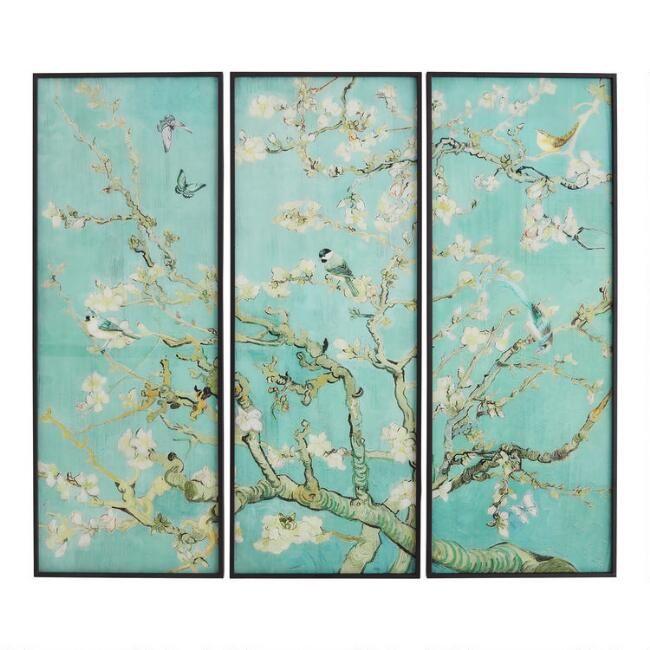 Songbirds Triptych Framed Glass Wall Art 3 Piece V1 Glass Wall Art Triptych Wall Art Sets