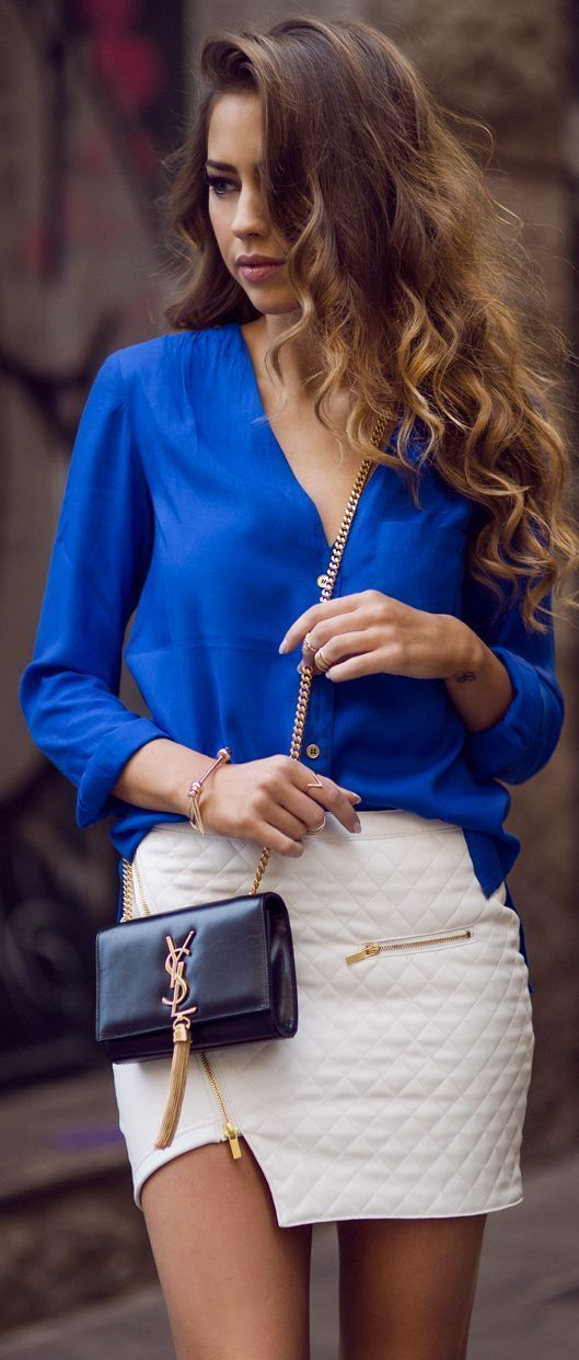 Business Lady Spring 2015 Style. Saint Laurent Bag, Blue Blouse and White Skirt make this look so fresh and sexy.
