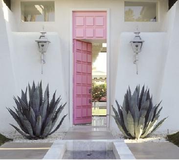 pastel pink door