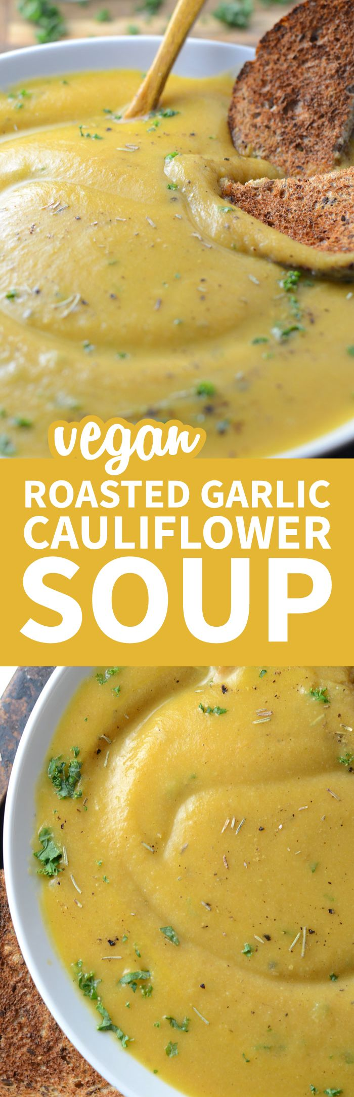 This creamy roasted garlic cauliflower soup is vegan, oil-free, low in fat and carbs and has a delicious, rich, garlic flavour. Easy to make with everyday ingredients, ready in under 30 minutes. Creamy Roasted Garlic Cauliflower Soup http://runningonreal