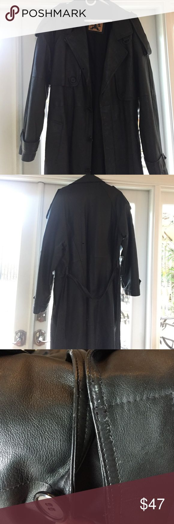 Mens Leather trench coat Men's black leather trench coat. Goes down to about knee or just below depending on hieght. Good leather condition except small stain on bottom front and a little wear by button area. Hardly noticeable. Jackets & Coats Trench Coats