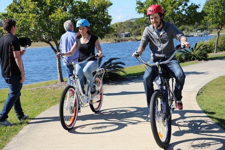 Nik & Sarah having a ball on their bikes whilst shooting video
