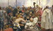 The Zaporozhye Cossacks writing a letter to the Turkish Sult...  by Ilya Efimovich Efimovich Repin