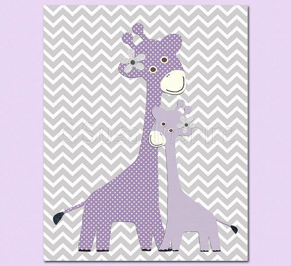 for my little girls - Purple Giraffe nursery art Print 8x10 Kids Room by SugarInspire, $14.95