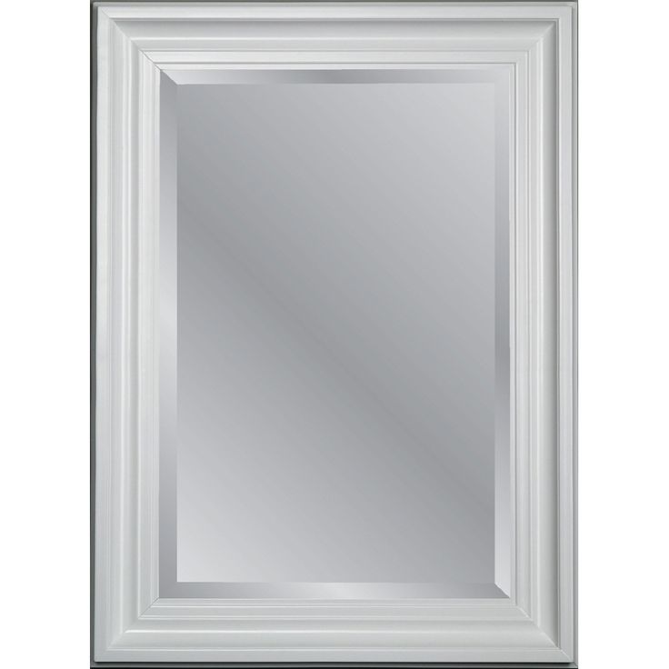 Shop allen + roth 31.75-in x 43.75-in White Beveled Rectangle Framed Country Wall Mirror at Lowes.com