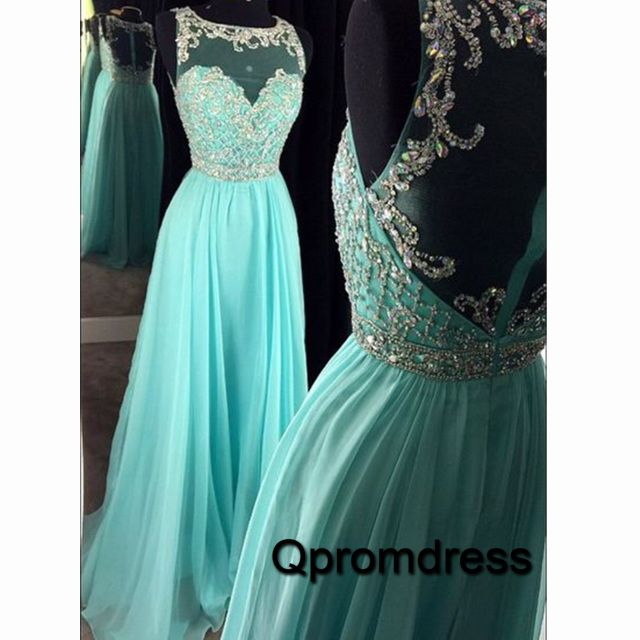 Beautiful round neck see-through back mint chiffon sequins prom dress…