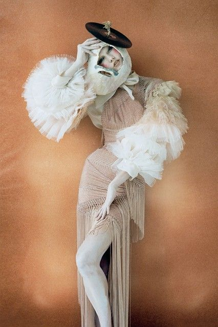 Inspired by the Ballet Russes, Karlie Kloss was photographed in an Atelier Versace asymmetric evening dress for the October 2010 issue. Photo By Tim Walker/Vogue