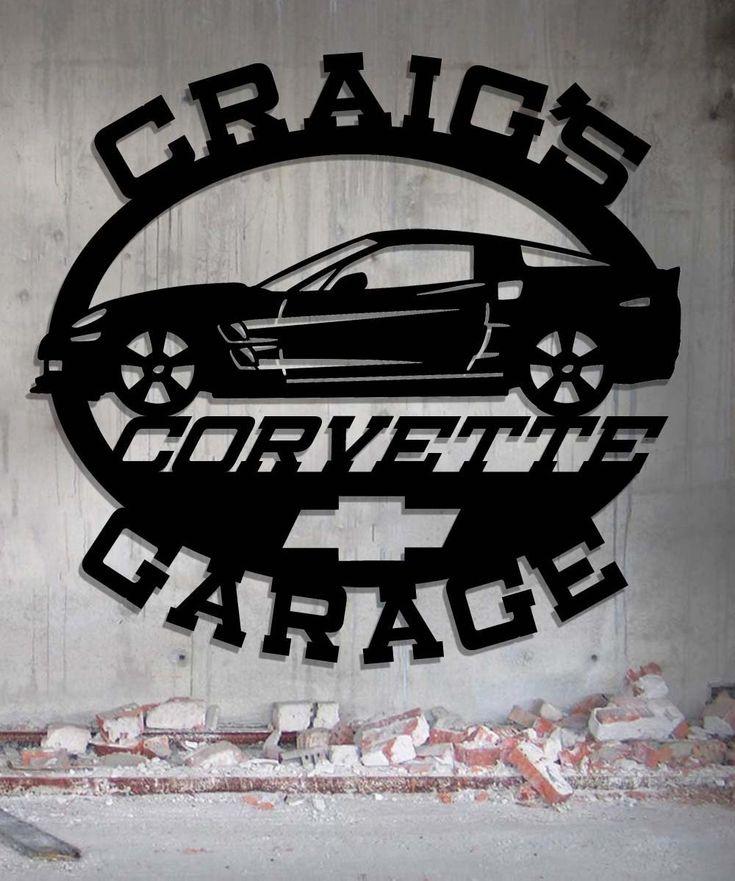 Corvette Garage - Personalized Metal Sign - Metal Wall Art -Customize It - Metal Wall Art Man Cave Gift Grandpa's Dad's Or Custom Name 23.5 Wide x 22 Tall