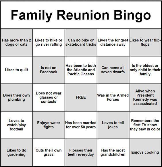 Family Reunion Ideas >> People Bingo Rules Cards Icebreaker Ideas 2018 Family Reunion
