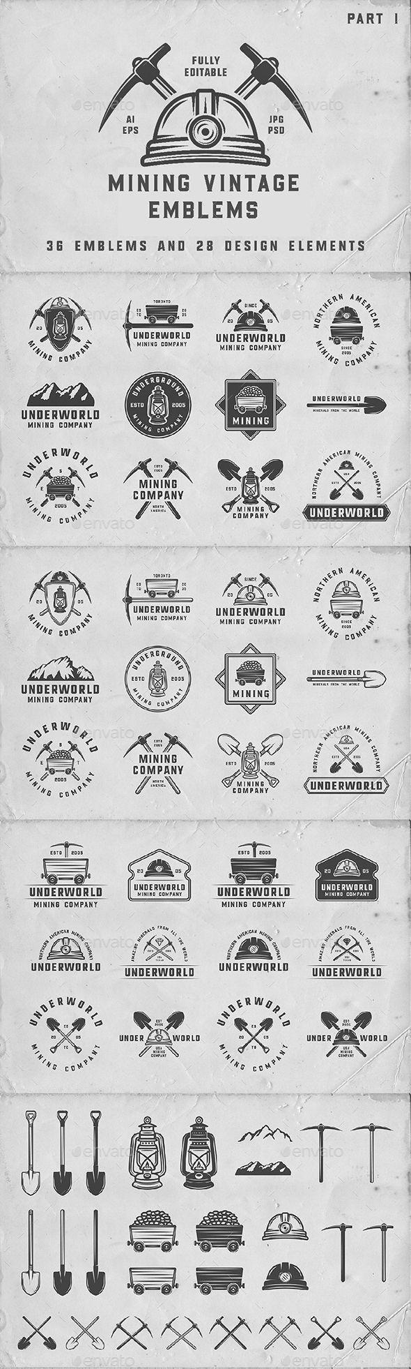 36 Vintage Mining Emblems Templates PSD, Vector EPS, AI Illustrator