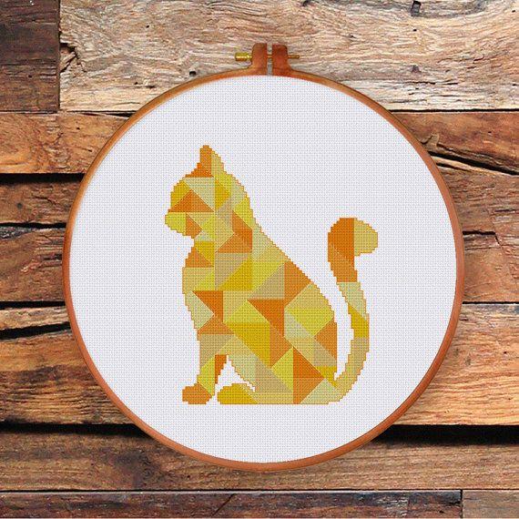 Geometric Cat cross stitch pattern Modern triangle mosaic