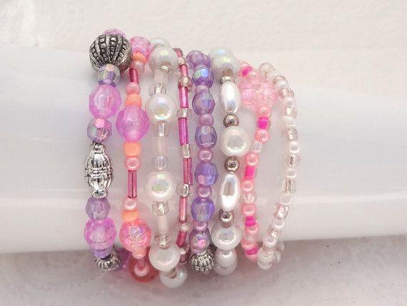 Boho Bracelet Set of 8 - White, Purple, Pink - beaded stretch bracelets - handmade in New Zealand #9