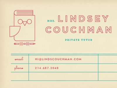 private tutor business card | brent couchman
