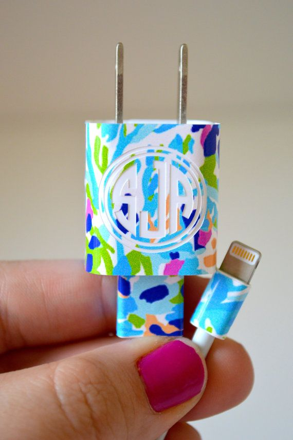 Monogrammed Lilly iPhone Charger Wrap $6.00 | via TheGatorbug on Etsy