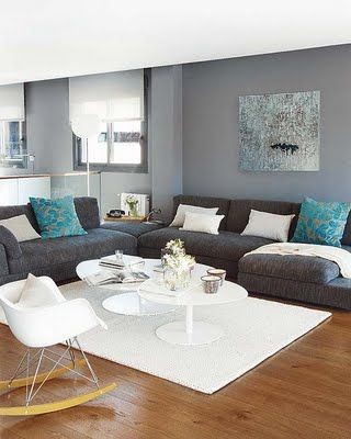 Like This Color Scheme For The Living Room, Light Gray Walls, Charcoal  Couch, Blue Accent Pillows. Part 85