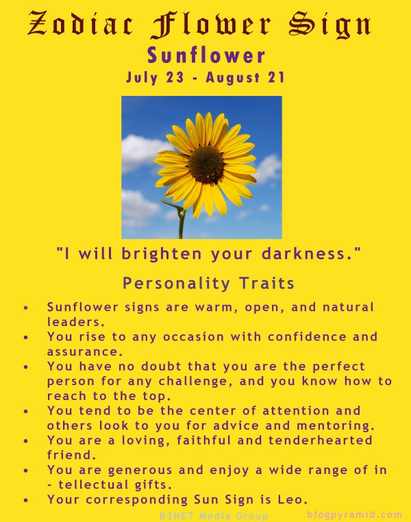 Divine Spark:  #Zodiac Flower Sign ~ Sunflower July 23 - August 21 (#Leo).