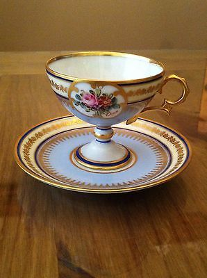 Limoges Tea Cup Saucer Pedestal Delicate Blue Gold Signed Hand Painted