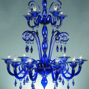 Blue 12 Light Murano Crystal Chandelier