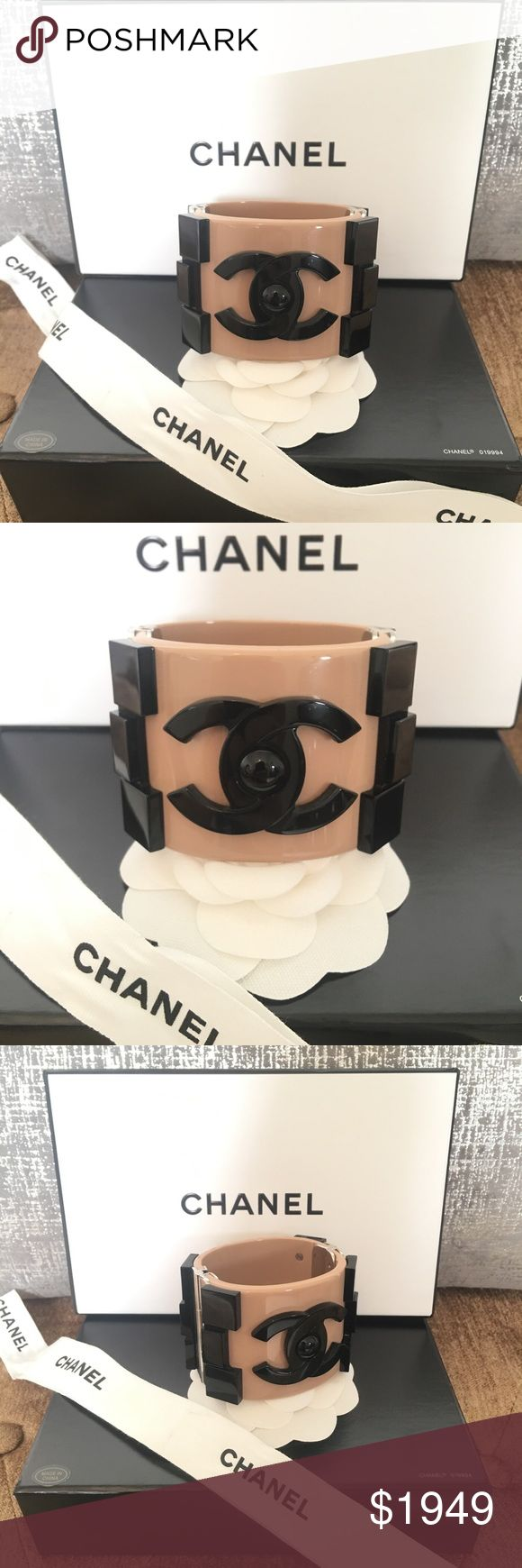 Chanel Limited Edition Boy Lego Cuff Bracelet Gorgeous Rare Limited Edition Chanel Lego Brick cuff bangle with push lock closure. Black and beige Plexiglass with CC logo. Silver hardware featuring a beige and tan color with the CC logo in black. One of a king and a must have for any Chanel Lover. Like New Condition. Comes with original box and pouch. CHANEL Jewelry Bracelets