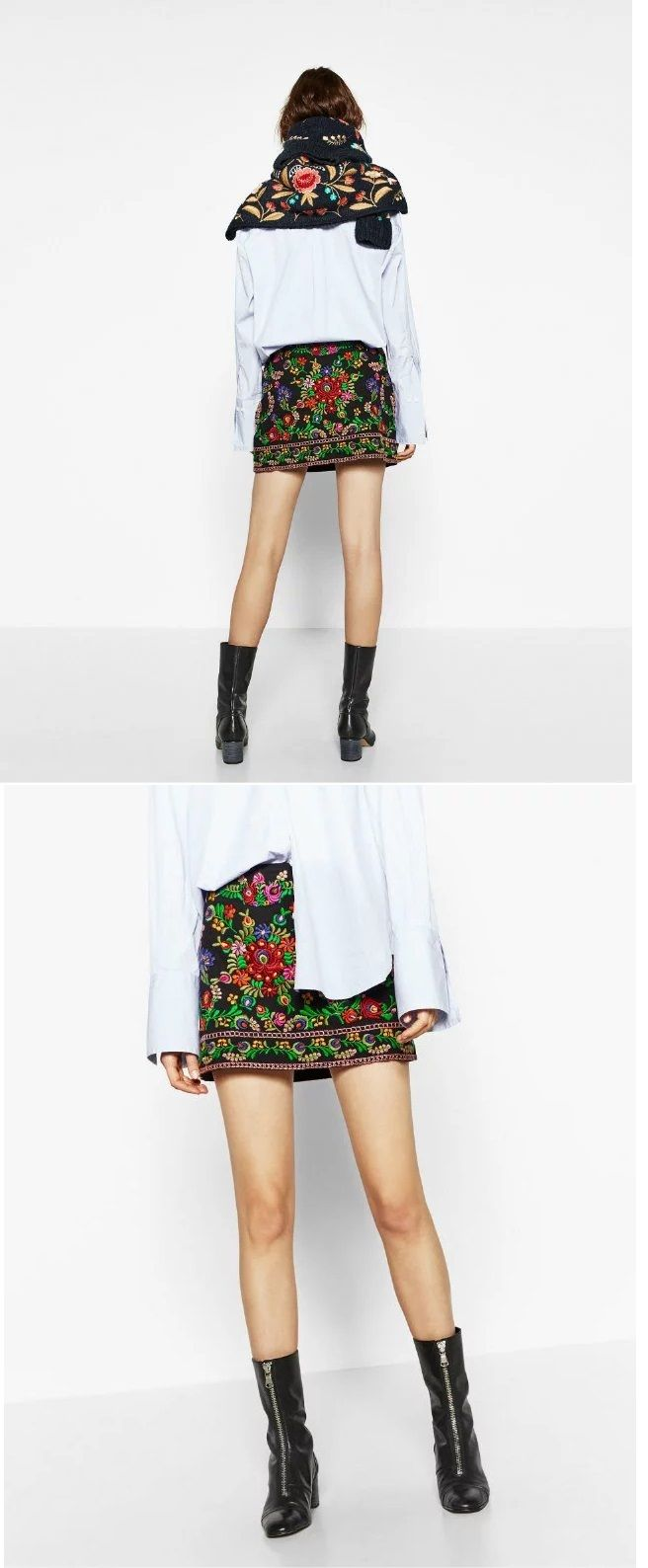 Women's Embroidered Ethnic Style Vintage A-line Skirt