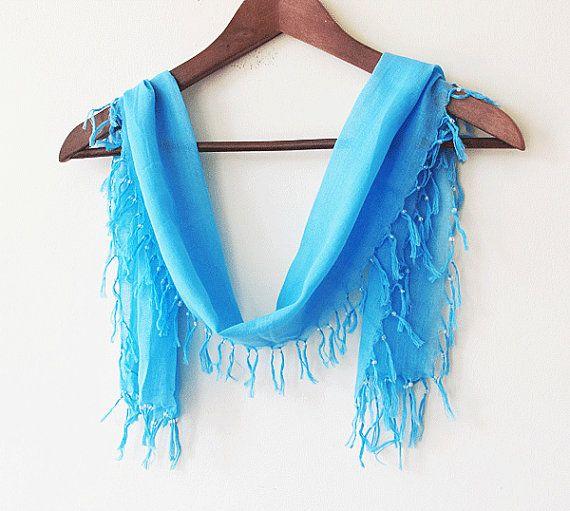 rectangular fringed turquoise blue scarf  by aynurdereli on Etsy