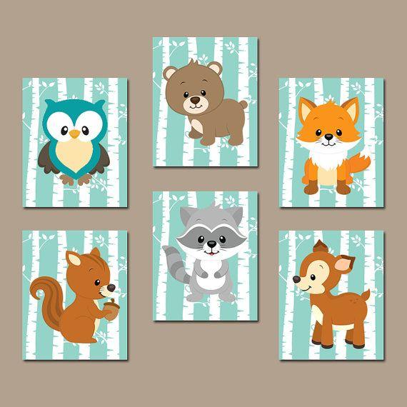Girl WOODLAND Nursery Wall Art, Canvas or Prints Woodland Wood Forest Animals, Girl Deer Raccoon FOX Owl Bear Bedroom Set of 6 Crib Decor
