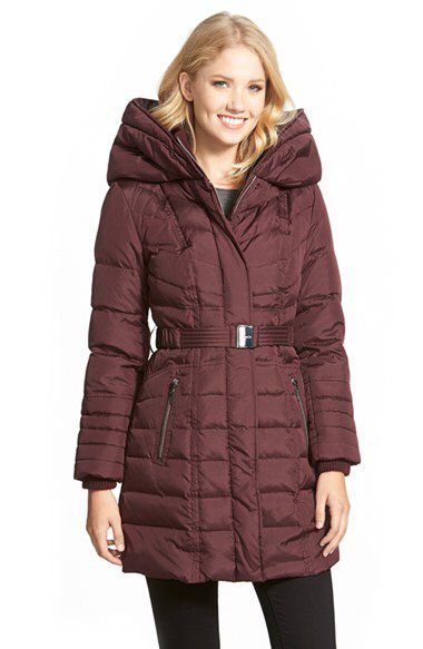 kensie kensie Belted Hooded Down & Feather Fill Coat available at #Nordstrom
