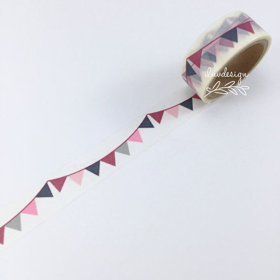 Pennant Flags Washi Tape • Pennant Decorative Tape • Banner Washi Tape • Garland Flag Washi Tape • Paper Craft • Planner Supply