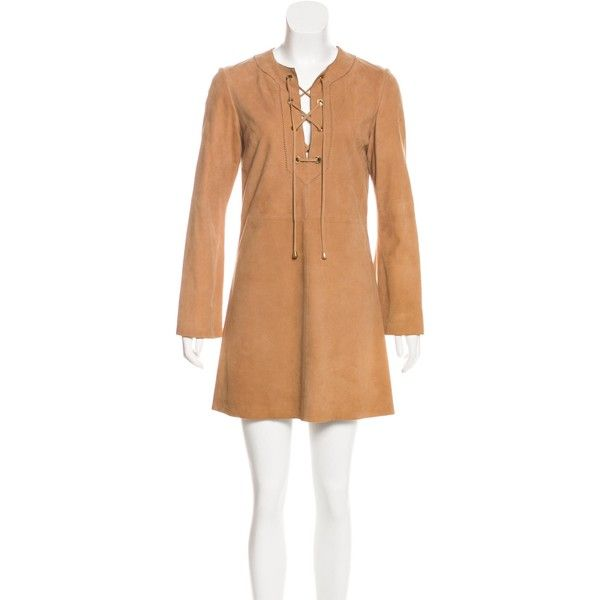 Pre-owned Tory Burch Suede Mini Dress ($165) ❤ liked on Polyvore featuring dresses, brown, mini dress, lace up mini dress, brown long sleeve dress, brown suede dress and beige dress