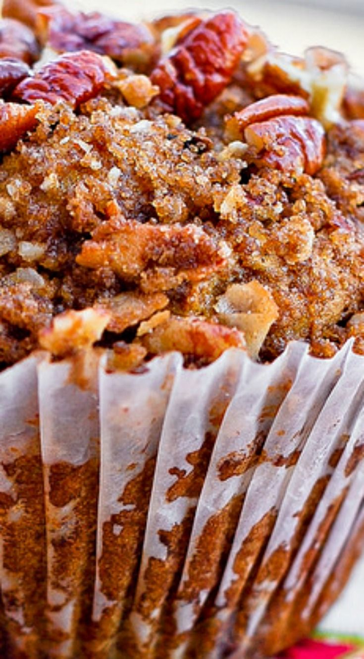 Pumpkin Pecan Muffins with Cinnamon Sugar Crumble Topping ~ They are soft and moist and are topped with sweet cinnamon pecan crumble topping. Just the right balance of flavors!