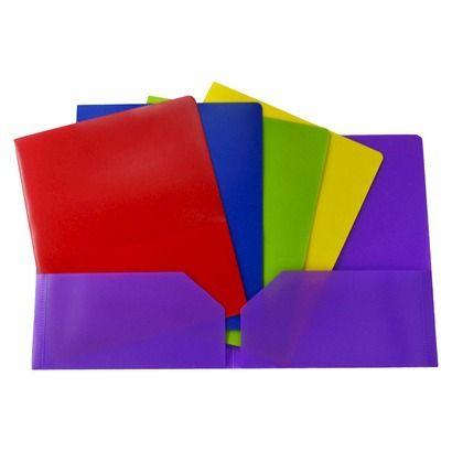 5TH GRADE SCHOOL SUPPLIES   [Need 2 (Any Color) Pocket Folders]   up & up®- 2-pocket Poly Portfolio Folder 5-pack - Multicolor