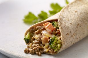these smart burritos are filled with cheese, Boca Ground Crumbles, veggies and a burst of fresh cilantro.