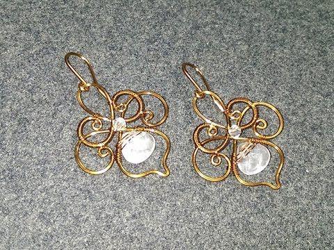 flower earrings with teardrop stones - How to make wire jewelery 196 - YouTube