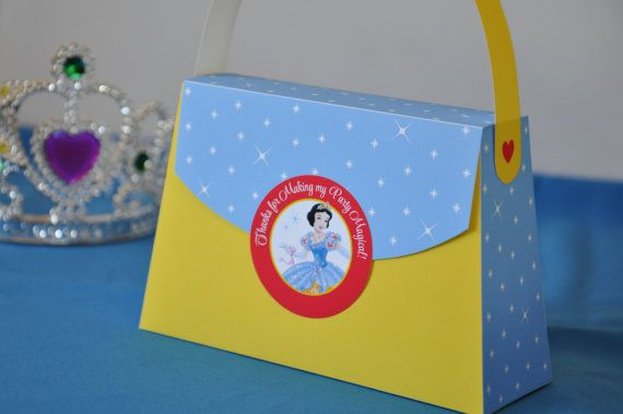 Snow White inspired Princess Party Purse Favor box - pdf printable party bag w/ TEXT EDITABLE back panel for Princess parties and sleepovers on Etsy, $6.62 AUD